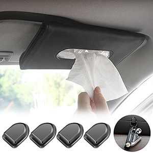 OdeJous Visor Mask Holder, Car Tissue Holder, Sun Visor Napkin Holder, Tissue Holder for Car, Hanging Car Tissues Box, PU Leather Backseat Tissue case Holder for car,Vehicle(Black)