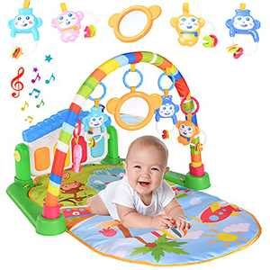 LATINKIS Baby Gym Play Mats for Infants, Tummy Time Mat Kick and Play Piano Gym Activity Mat, Baby Play Gym Musical Toys 0 3 6 12 Months Newborn Baby Shower Gifts with 1 Baby Mirror & 4 Rattles