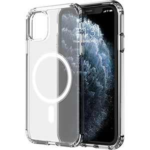 AZXL Magnetic Crystal Clear Designed for iPhone 11 Pro Max Case [Yellow Resistant] Compatible with MagSafe Shockproof Protective Slim Thin Cover 6.5 inch 2021-Clear
