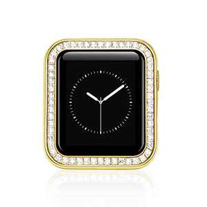 PROATL Compatible for Sparkling Apple Watch Case 40MM, Bling Protective Cases with Luxury Gorgeous Large Square Crystal Diamond with Gift Box for iWatch Series SE/6/5/4 (Diamond/ Yellow Gold)