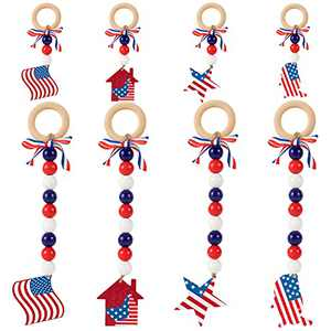 8 Pack Independence Day Wooden Hanging Ornaments- 4th of July American Flag Pattern Wood Pendants with Butterfly Knot Hanging Rings Patriotic Party Favors for Home Window Wall Decors Holiday Presents