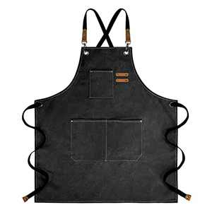 Chef Apron for Man Women with Pockets, Canvas BBQ Grill Apron with Cross Back Adjustable Straps, M-XXL,Black