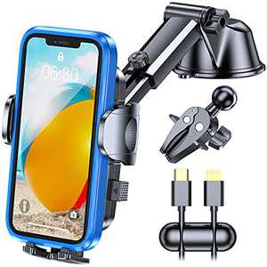 YRU Military-Grade Phone Mount for Car, New Upgrade Car Phone Holder Mount, 3 in 1 Cell Car Phone Holder for Car Dashboard Windshield Air Vent, Universal Car Phone Mount for iPhone Samsung All Phones