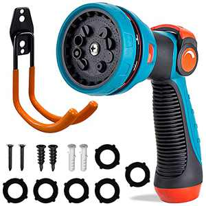 Garden Hose Nozzle - Hose Nozzle Sprayer with Hose Holder, Water Hose Nozzle, High Pressure Hose Sprayer Features 10 Spray Patterns Thumb Control Easy Water Control for Lawns Garden Home Pet Car