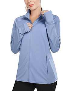 BALEAF Women's UPF 50+ Sun Shirts Long Sleeve Zip Pockets Lightweight Full Zip Outdoor Jackets Blue Size XXL