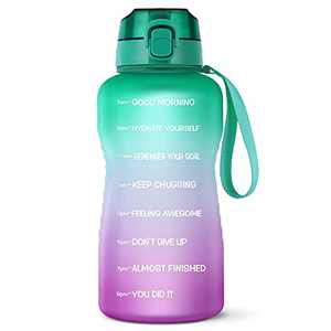 LUCKEA Half Gallon Water Bottle with Straw, 64OZ Motivational Water Bottle Tritan BPA Free, Large Capacity Premium Flip-top Lid and Leakproof Sport Big Jug for Fitness Camping Home Outdoor Activity