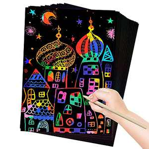 ZMLM Art and Craft Gift for Kids: Rainbow Scratch Art Magic Paper Set for Girls Boys Activity Toddler Coloring Doodle Project Preschool Drawing Pad Card Board Supply Kits Birthday Party Christmas Toy