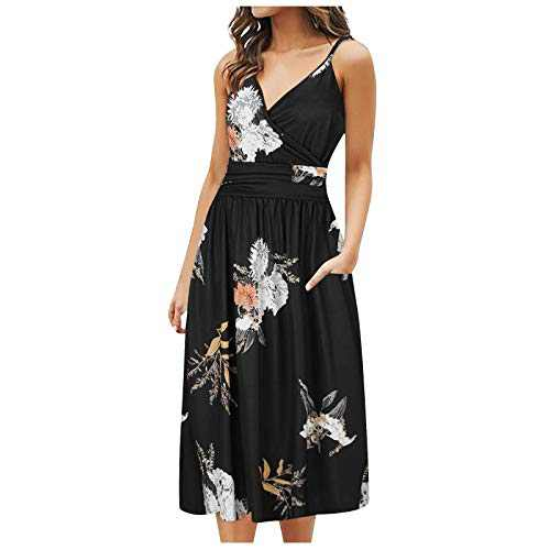 KANGMOON Women Summer Dresses Casual V-Neck Floral Printed Sleeveless A-Line Swing Party Beach Midi Dress