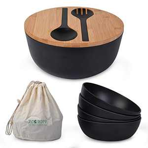 ECOWAY Bamboo Fiber Salad Set with Lid,9.8 inches Large Salad Bowl with 4 Small Bowls and Servers, Mixing Bowls for Kitchen Eating Salad, Soup, Pasta and Fruit.