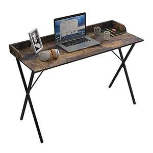 Computer Desk Office Home Desk 120x50cm Writing Study Table with Sturdy Metal Legs Easy Assembly Modern Simple Style Space Saving Workstation for Small Spaces, Caramel Color