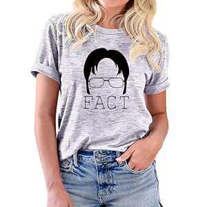 Womens Teen Girls Fact Funny Graphic Office T Shirt Tees Novelty Fun Shirt Tops Summer Lightweight T-Shirt