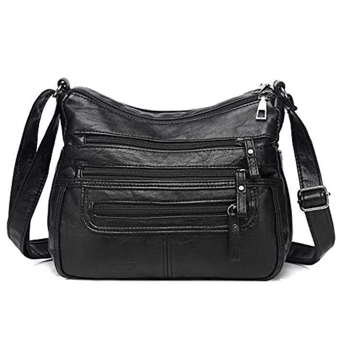 Ladies Shoulder bag Multifunctional Messenger Bag Soft PU Leather Fashion Cross-Body Handbags for Women with Adjustable Strap Multi-Pockets