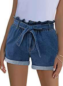 Lookbook Store Paper Bag Jean Shorts for Women Summer High Waisted Cuffed Raw Hem Tie Knot Waist Stretchy Denim Shorts Bijou Blue Size Small