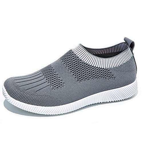 Spostor Women's Athletic Walking Shoes Casual Mesh-Comfortable Work Sneakers 6 US Light Grey