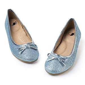 FITORY Girls Dress Shoes, Glitter Mary Jane Ballet Flats Slip on with Bow for Little Kid Blue Size 12.5-13
