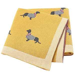 Baby Blanket Knitted Blankets Newborn Essentials Soft Cotton Swaddle Wrap Blanket Infant Toddle Comforter Dachshund Dog Knitting Patterns Soogan Boy Grils Yellow 80x100cm