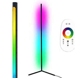 """Led Corner Floor Lamp RGB and White Color Changing Modern Dimmable Light 56"""" Tall Standing Lamp with Remote, webcast, Party, Festive Atmosphere Light"""