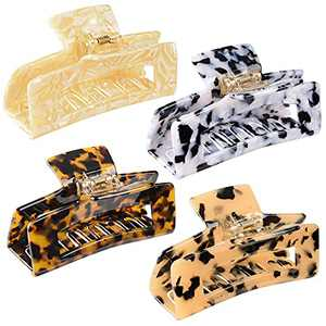 4 PCS Large Hair Claw Clips,4 inch Tortoise Hair Clips,Rectangle Hair Clamp for Women, Non-slip Acetate Material,Claw Clips for Thin Thick Hair,Great Gift for Holiday Seasons