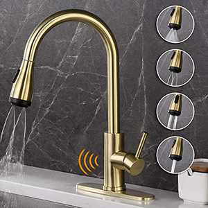 AMAZING FORCE Touchless Kitchen Faucet Single Handle with 4 Modes Pull Down Sprayer, Automatic Motion Sensor Kitchen Sink Faucet with Fingerprints Resistant, Brushed Gold