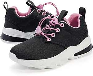 WHITIN Girls Shoes Little Kids Sneakers Black Pink Size 11 Youth Running Gym Walking Casual Fashion Lightweight Comfortable Breathable Zapatos de niñas Gifts Sports Mesh Elastic Laces 29