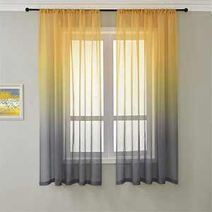 Linen Curtains Sheer Window Curtain Drapes Luxury Yellow and Gray Set of 2 Panels for Living Room, Bedroom, Home Deco W52xL63 Inch(132x160 cm)