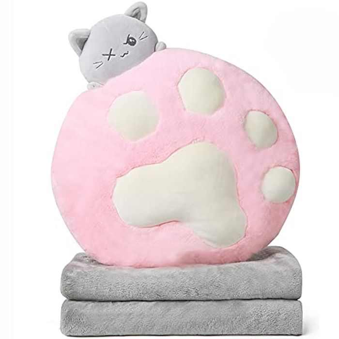 Cat Hugging Pillow Stuffed Animals Plush Soft Toy, Plush Cat Paw Pillow Blanket Two-in-one with Flannel Cushions, Gifts, Travel Pillow Blanket,Suitable for Travel, car, Office, Bedroom