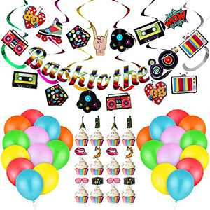 74 Pieces Back to the 80s Party Decorations 2 Pieces Back to the 80s Sign Banners 24 Pieces Retro 1980s Streamers Cupcake Toppers 24 Pieces 80's Hip Hop Sign Hanging Swirls 24 Pieces Latex Balloon