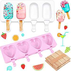 2 Pieces Silicone Cakesicle Mould Popsicle Moulds Set with 50 Pieces Wooden Sticks 4 Cavities Oval Heart Homemade Ice Pop Ice Cream Mould Cakesicle Moulds Pink and White