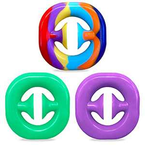 3 Pack Snapper Fidget Toy Anxiety Stress Relief Toys Kids and Adult Stress Reliever Silicone Toys (Rainbow, Green, Purple)