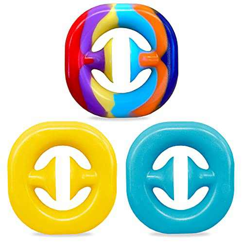 3 Pack Snapper Fidget Toy Anxiety Stress Relief Toys Kids and Adult Stress Reliever Silicone Toys (Rainbow, Yellow, Blue)