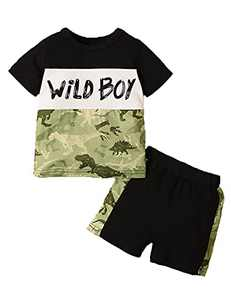 Aslaylme Baby Boy Summer Outfit Toddler Baby Boys Clothes Dinosaur Shorts (Camouflage,12-18 Months)