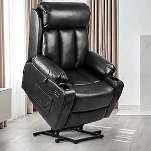 YITAHOME Power Lift Recliner Chair with Extended Footrest for Elderly, Massage and Heat Faux Leather Recliner Chair, 2 Cup Holders, 2 Side & Front Pockets and Remote Control for Living Room (Black)