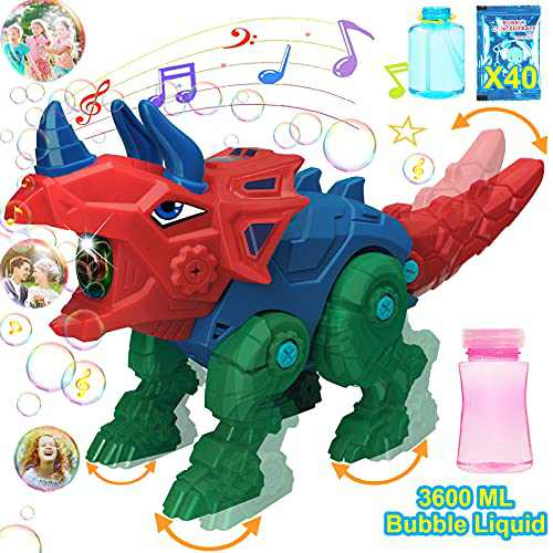 Bubble Machine Blower for Toddlers Kids Outdoor, Dinosaur Automatic Bubble Maker with 3600ml Solution, Portable Bubble Toys for Boys Girl