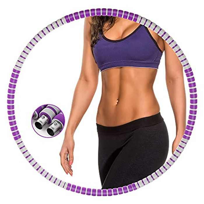 Gesofy Fitness Hoop Abdomen Exercise, Thickened Foam Stainless Steel Inner Core,Soft Padding 8 section Detachable Adjustable Wavy Design, Workout Weighted Hoops for Fat Burning, Weight Loss