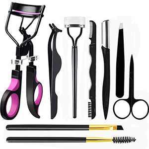 BESWON Eyebrow Kits 9 in 1 Eyelash Curler kit - Eyelash Brush, Lash Curler, Eyelash Extension Tweezers, Eyebrow Brush and Comb, Silicone Refill Pads