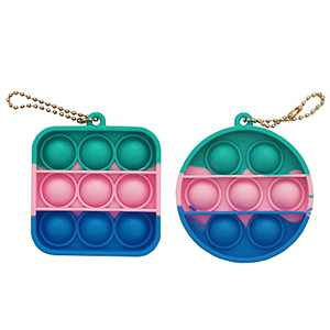 FEAYEA Fidget dimple Toy for Kids and Adults, Soft Silicone Ergonomic Stress Relief Toy with Buckle Ring Easily Attaches to Keys, Purse (Green Blue 2pcs)