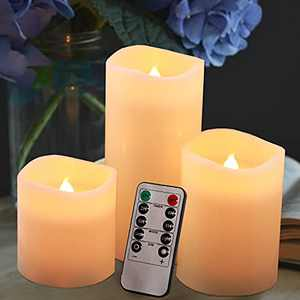 Flickering Flameless Candles with 10-Key Remote and Cycling 24 Hours Timer Control, Battery Operated Halloween Decorating Led Candles Made of Real Wax (Ivory Pack of 3)