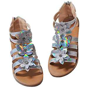 owiluup Girls Gladiator Sandals Butterfly Flower Strappy Sandals with Back Zipper Sliver Big Kid 4