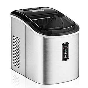 Euhomy Ice Maker Machine Countertop, 12 kg (26 lbs) in 24 Hours, 9 Cubes Ready in 6-8 Mins, Electric ice Maker for Home Counter top with Ice Scoop and Basket. Perfect for Home/Kitchen/Office.(Silver)