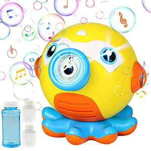 Llkboha Bubble Machine Octopus Automatic Bubble Blower with Music and Lights, Bubble Maker with Splash-Proof Design and 160ml Bubble Liquid, 3000+Bubbles Per Minute, Suitable for Party/Picnic/Wedding