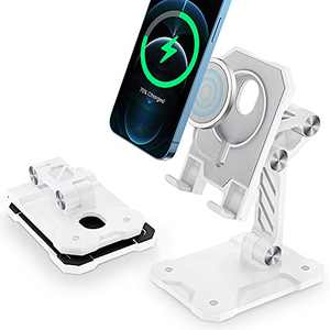Tensea MagSafe Stand, Adjustable & Foldable Phone Stand Holder for Desk Compatible with iPhone 12 mini/12/12 Pro/12 Pro Max (MagSafe Charger not Included) (White)