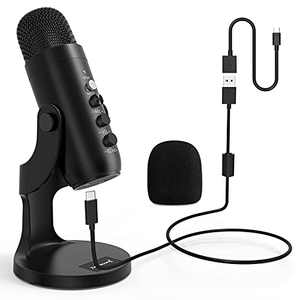 ZealSound USB Microphone,Condenser Computer PC Mic,Plug&Play Gaming Microphones for PS 4&5.Headphone Output&Volume Control,Mic Gain Control,Mute Button for Vocal,YouTube Podcast on Mac&Windows(Black)