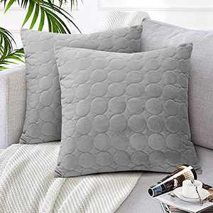 CAROMIO Solid Velvet Pillow Covers Grey Cushion Covers 18x18 Inches Super Luxury Soft Pillows Square Cushion Case Home Decor for Sofa Couch Bed Chair, Pack of 2