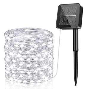 Solar String Lights Outdoor Waterproof, Solar Powered Fairy Lights Each 85FT, 240 LED Copper Wire Lights with 8 Modes, Silver Wire Solar Twinkle Lights for Garden Yard Party Wedding Pure White