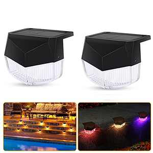 Solar Deck Lights 2 Pack RGB Outdoor Solar Step Lights Waterproof Solar Fence Lights Solar LED Stair Light Warm White Color Changing Mode for Stairs Fence Deck Patio Yard Pathway Pool Porch Step
