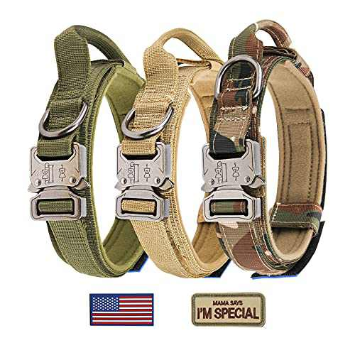 """Tactical Dog Collar - KCUCOP Military Dog Collar with 2 Patches 1.5"""" Width Thick with Handle K9 Collar Dog Collars Adjustable Heavy Duty Metal Buckle for M,L,XL Dogs(XL, Upgrade Green with 2 Patches)"""