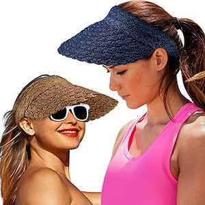 2 Pieces Women Wide Brim Sun Visor Hat Foldable Straw Hat Roll-up Golf Visor Hat (Camel, Navy Blue)