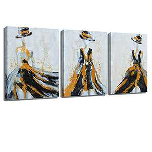Modern Fashion Woman Dress Canvas Wall Art,Decoration Print Fashion Handmade Partial Painting oil Painting Painting Black and White Background Living Room Bedroom Hanging Painting 12x16 inch x3 Poster