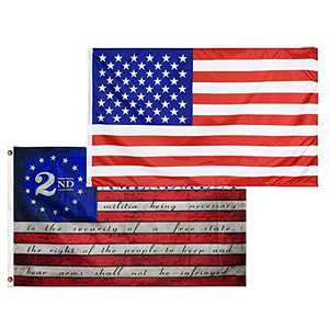 American US Flag and 2nd Second Amendment Flag - USA Flag Vivid Color - 2nd Amendment 1791 Vintage Flags - and UV Fade Resistant Polyester with Brass Grommets 3 X 5 Ft