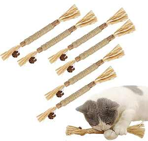 GEKUPEM 6 Pcs Toy Cat Toy Indoor Chew Sticks Cat Teeth cat Chewing Natural Stick Teeth Cleaning Edible Natural to Promote Cat's Appetite Suitable for All Cats
